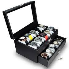 Ikee Design Watch Box Ikee Design Watch Display Case With Silver Key Lock Black