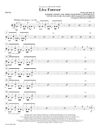 drums sheet music live forever drums sheet music direct
