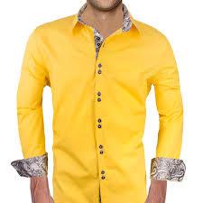 Yellow Designer Shirt Mens Mens Designer Dress Shirt Lemon Zest