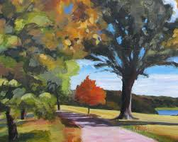 painting of autumn trees by lisa marder showing shadowassing of leaves on trees