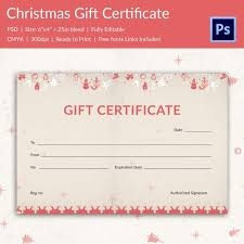 Printable Christmas Certificates 21 Christmas Gift Certificate Templates Psd Pages Free