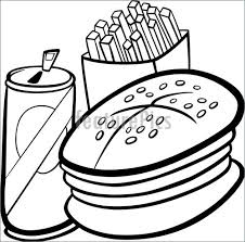 fast food clipart black and white. Simple White Fast Food Cartoon For Coloring Book Intended Clipart Black And White C