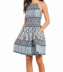 Vince Camuto Dress Size Chart Vince Camuto Womens Printed Scuba Halter Fit And Flare Dress
