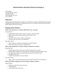 Administrative Assistant Resume Objectives Position Resumes For With ...