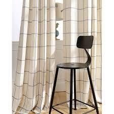 chic cotton linen blue beige plaid curtains