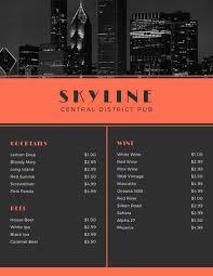 Menu Templates Design Customize 246 Bar Menu Templates Online Canva
