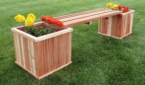 wooden bench planter boxes humboldt redwood 18 square planter box bench combo kit garden