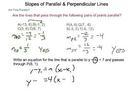geometry 3 8 slopes of parallel perpendicular lines
