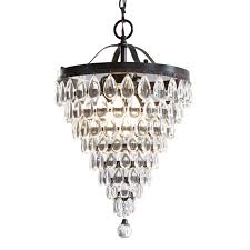 style selections 3 light antique bronze crystal chandelier