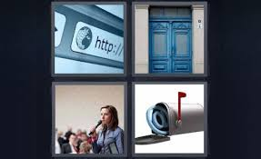 4 pics 1 word internet browser blue door woman speaking email mailbox