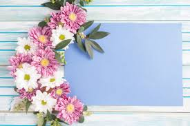 Decorated Design Inspiration Decorated Flowers Design On Blank Paper Over The Wooden Table Photo