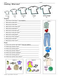 Clothing  worksheet 2  what size  singular and plural  1 page