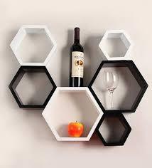 hexagonal modular wall shelf set of 6 in black white finish by decornation