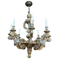 antique polychrome hand carved painted wood chandelier for
