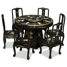 livingroom black lacquer chairs marvelous pearl figure motif round dining table with chinese armchairs side