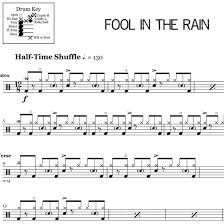Drum Charts Fool In The Rain Led Zeppelin Drum Sheet Music