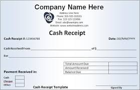 Cash Receipt Template Free Printable Ms Word Format
