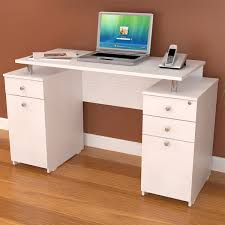 inval laricina white modern straight computer writing corner desk with file drawer locking ideas
