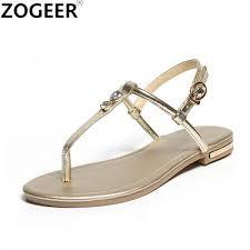 flat heel women sandals genuine leather flip flops women shoes gladiator casual flat sandal woman white gold