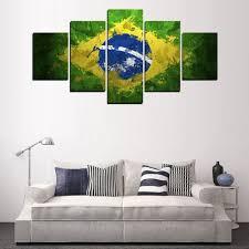 Living Room Wall Art Aliexpresscom Buy 5 Panels Brazil Flag Painting For Living Room