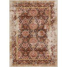 lau sori brown 8 ft x 10 ft vintage antique look traditional area rug