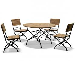 teak bistro table and chairs. teak folding bistro round 1.2m table \u0026 4 side chairs and