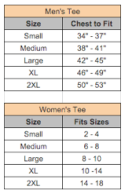 Art Of Asking Signature Tee Size Charts The Official
