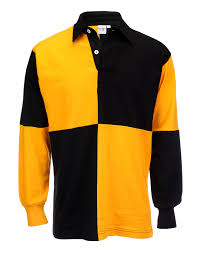 details about sports club yellow black rugby sporty full sleeve polo shirt 100 cotton
