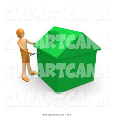 Eco Friendly Construction Clip Art Of An Orange Man Using A Screwdriver To Finish Off A