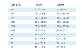Size Chart Carters And Osh Kosh Bgosh
