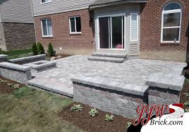 Small Picture Brick Paver Patio Design with Brick Seating Wall and Pillars