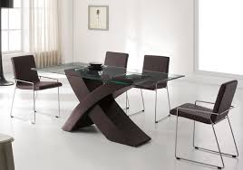 glass dining table leather