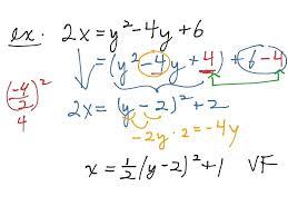 solving vertex form math sideways parabola to vertex form math parabolas vertex form quadratic equation vertex