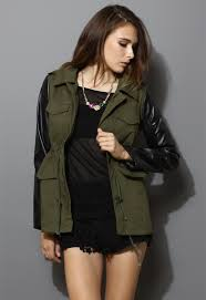 more views khaki military jacket with pu leather sleeves