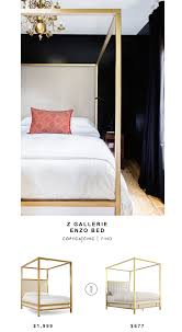 Z Gallerie Enzo Bed for $1,999 vs Inspire Q Solvita Canopy Bold Bed for  $677 Copy