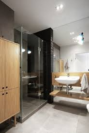 Dazzling Modern Bathroom With Wooden Walls And Gray Stone Tiles - Glazed bathroom tile