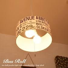 pendant light lamp shade lighting 2 light bus roll lamp ceiling light fabric print letter stencil