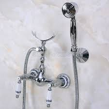 Aliexpresscom Buy Polished Chrome Brass Telephone Style Bathtub Faucet Wall Mounted Bath Shower Mixer Taps Handheld Shower Set Tna263 From