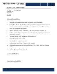 best photos of employee job description sample resume security guard job description sample