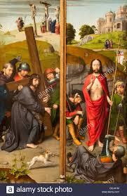 16th century christ carrying the cross with the crucifixion the resurrection with the pilgrims of emmaus gerard david