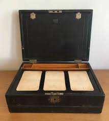 antique victorian leather writing doent box