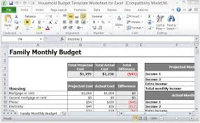 Best Excel Family Budget Template Household Budget Template