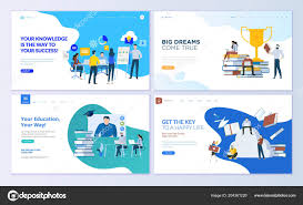 College Templates Set Web Page Design Templates Staff Education Consulting
