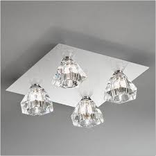 franklite starz 4 light square chrome flush with glass shades fl2245 4