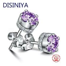 2019 <b>DISINIYA</b> Natural Purple Amethyst Stud Earrings For Women ...