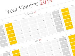 Yearly Calendar Planner Template 2019 Year Planner Calendar Littledelhisf Us