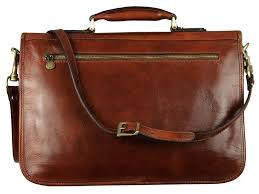 mens brown leather briefcase with detachable shoulder strap mens