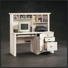 sauder harbor view computer desk with hutch antiqued white to enlarge id 371035