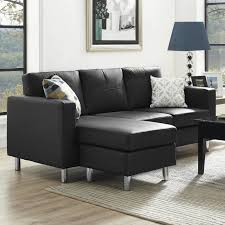 A Lovely Black Sectional With A Reversible Chaise The Legs Are Aluminum  And The Piece Is Upholstered In Tailored Faux Leather Black  Couches Under 400 T16