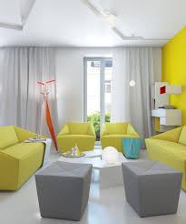 Modern Gray Living Room Yellow Gray White Modern Living Room Interior Design Ideas